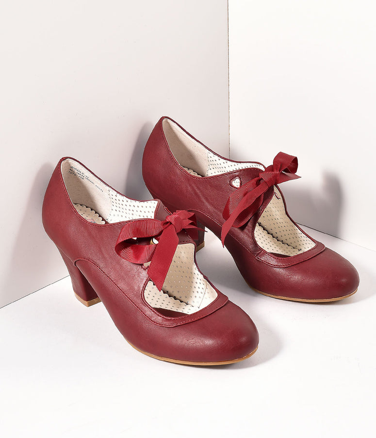Vintage Style Burgundy Leatherette Mary Jane Bow Wiggle Heels