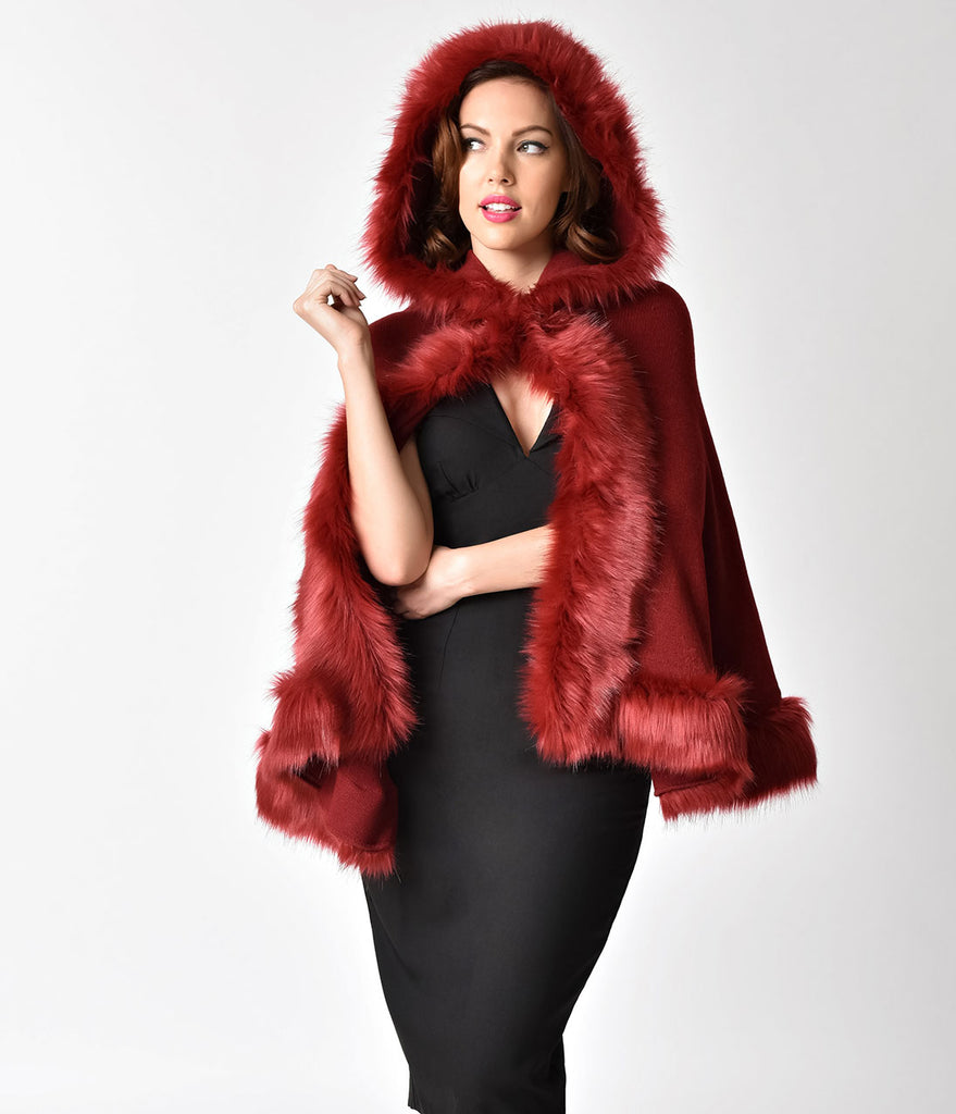 Vintage Style Burgundy Red & Fur Hooded Cape