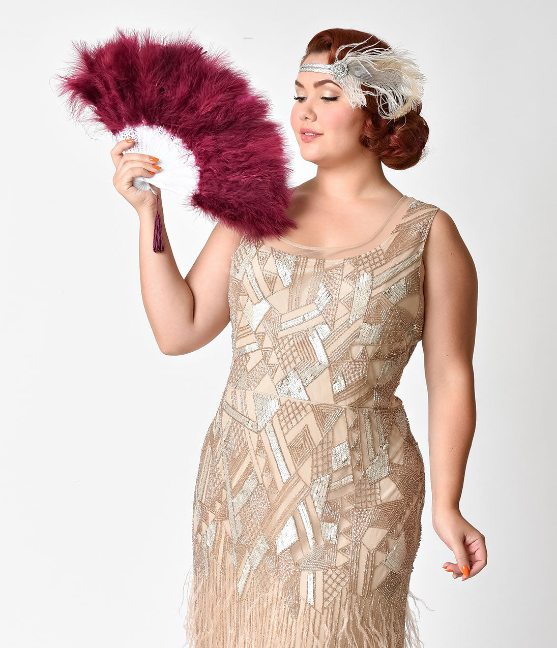 1920s Accessories: Feather Boa, Cigarette Holder, Flask Vintage Style Burgundy Red Marabou Feather Fan $16.00 AT vintagedancer.com