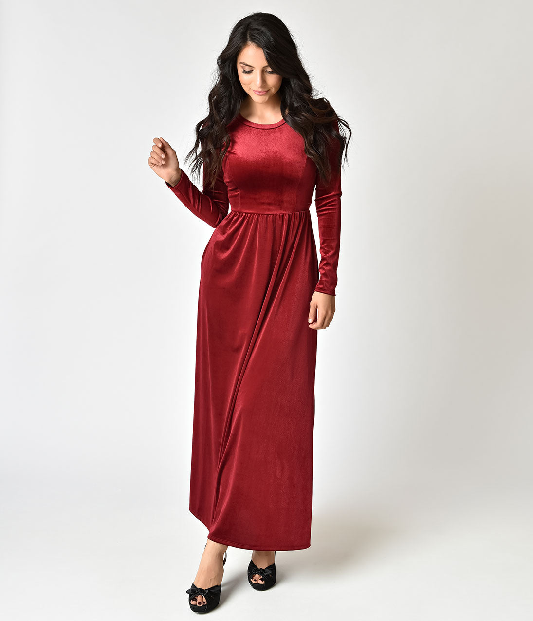 1940s Evening, Prom, Party, Cocktail Dresses & Ball Gowns Vintage Style Burgundy Velvet Long Sleeve Midi Dress $46.00 AT vintagedancer.com