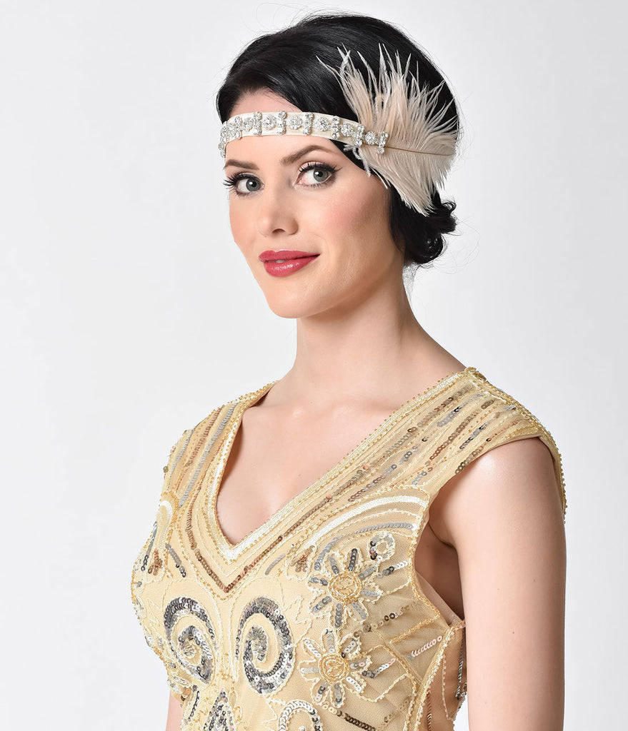 Vintage Style Champagne Crystal & Feather Gatsby Headband