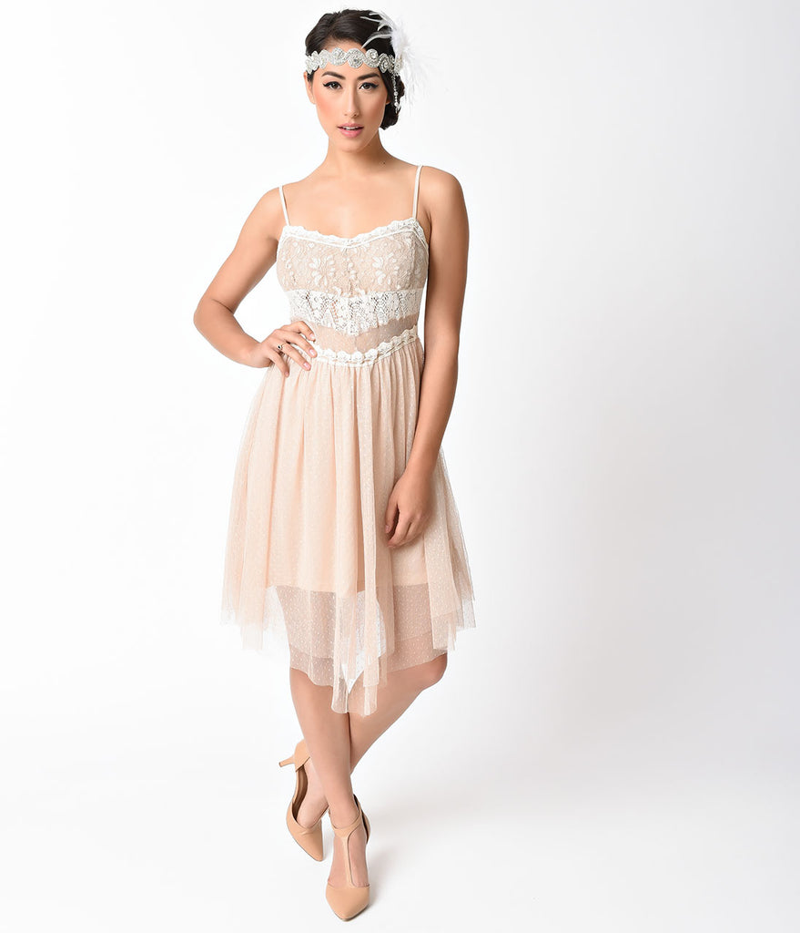 Vintage Style Champagne Lace Embroidered Flapper Dress