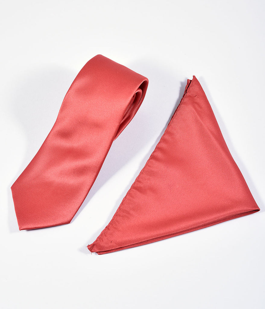 Vintage Style Copper Red Satin Tie & Handkerchief Set