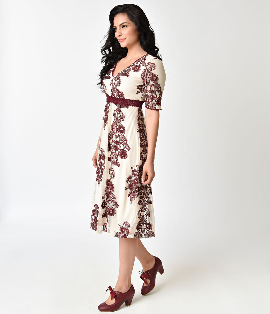 Vintage Style Cream & Burgundy Embroidery Sleeved Midi Dress