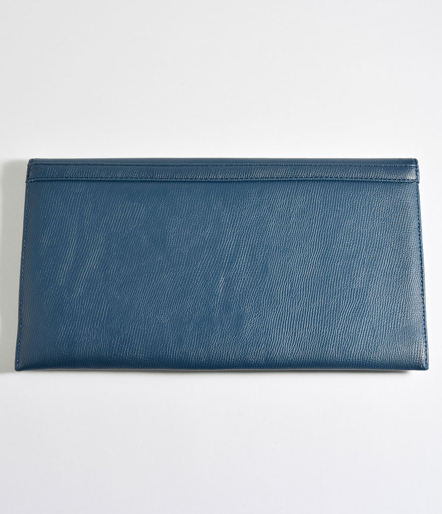 Vintage Style Dark Teal Blue Matte Leatherette Envelope Clutch