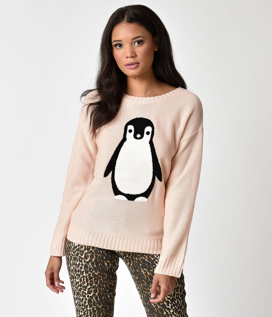 Vintage Style Dusty Pink Penguin Knit Sweater