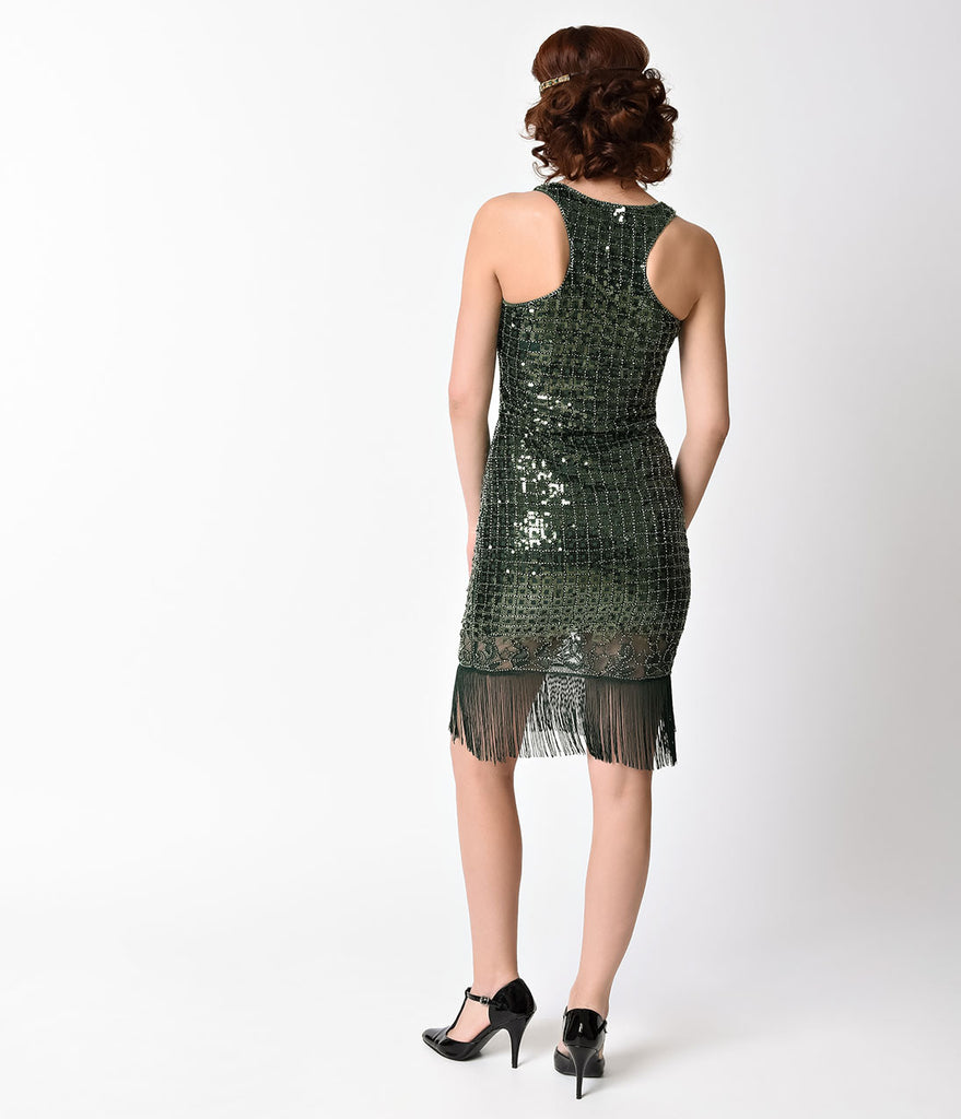 Vintage Style Emerald Green Geometric Sequin Sleeveless Fringe Flapper
