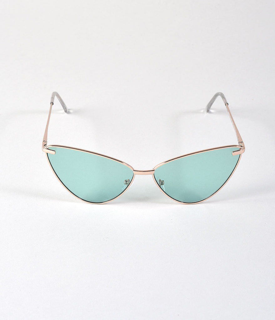 Vintage Style Gold Rimmed Green Sissy Cat Eye Sunglasses