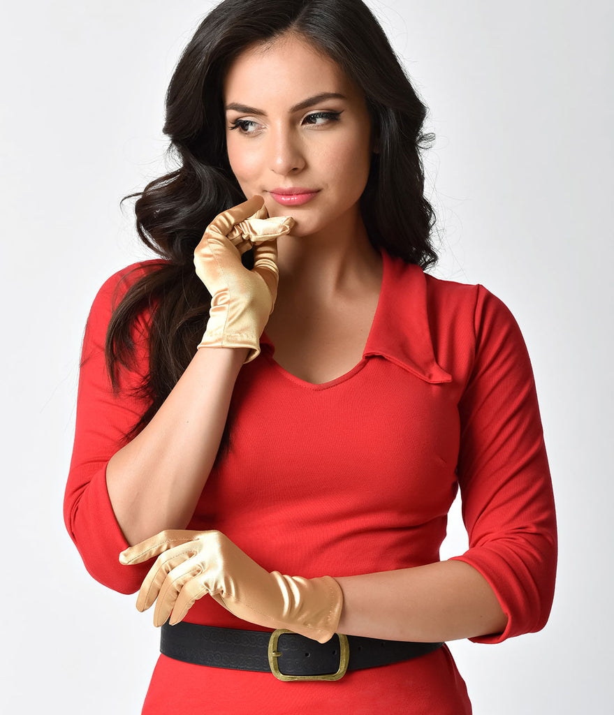 Vintage Style Gold Satin Wrist Gloves