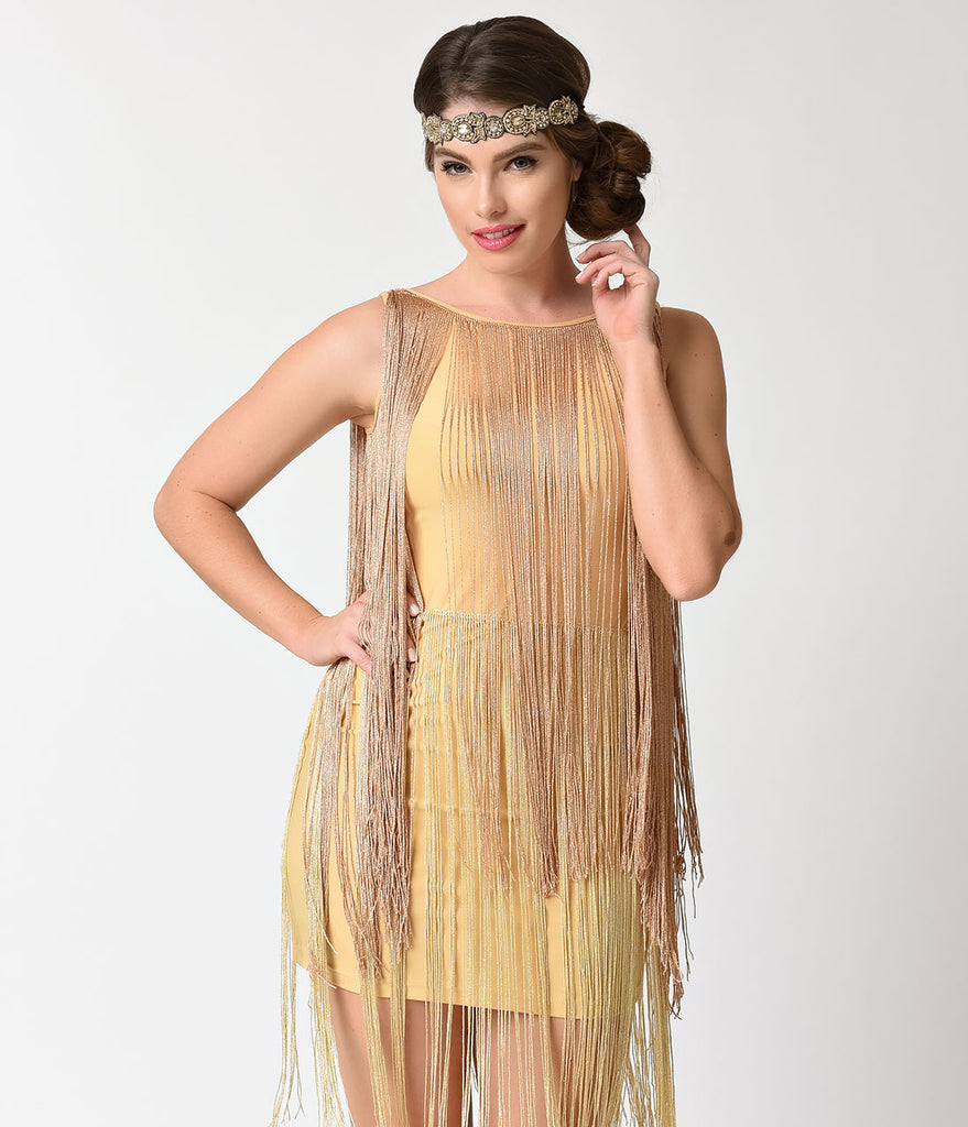 Vintage Style Gold Tiered Fringe Short Flapper Dress