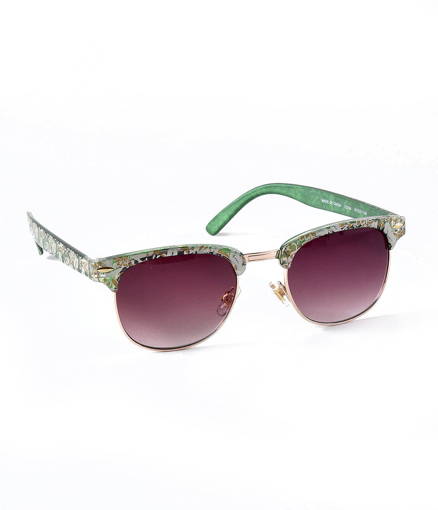 Vintage Style Green Floral Soho Aviator Sunglasses