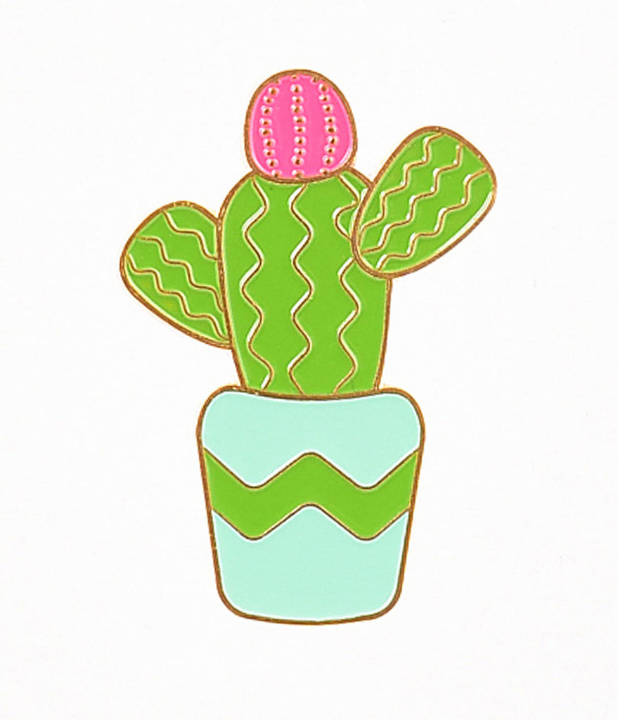 Vintage Style Green Potted Cactus Enamel Pin