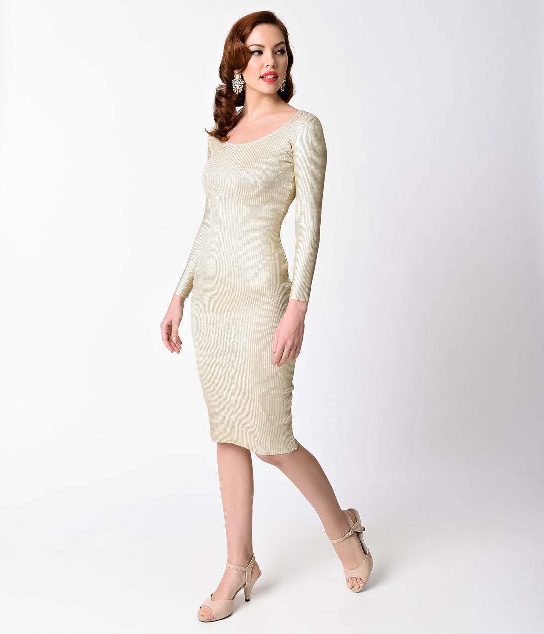 60s Wedding Dress | 1960s Style Wedding Dresses Ivory  Gold Ribbed Long Sleeve Knit Wiggle Dress $56.00 AT vintagedancer.com