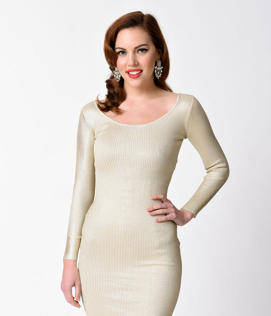 Ivory & Gold Ribbed Long Sleeve Knit Wiggle Dress