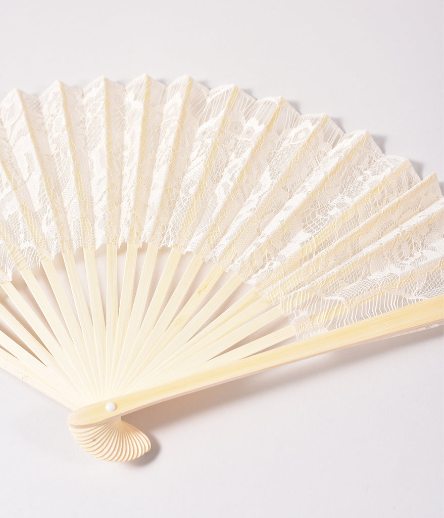 Vintage Style Ivory Lace Bamboo Fan