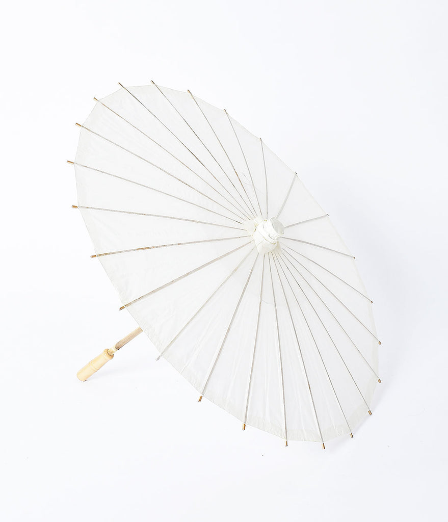 Vintage Style Ivory Paper Parasol