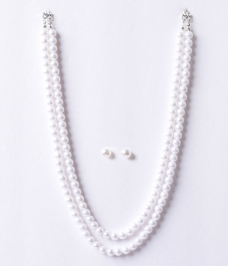 Vintage Style Ivory Pearl Beaded Double Necklace & Earring Set