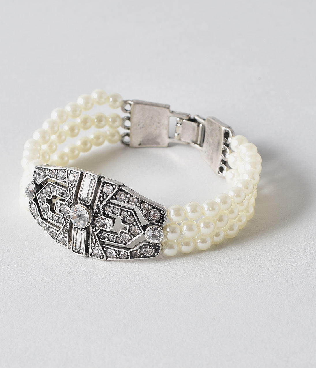 1930s Outfit Ideas for Women Vintage Style Ivory Pearl  Silver Crystal Rhinestone Bracelet $30.00 AT vintagedancer.com