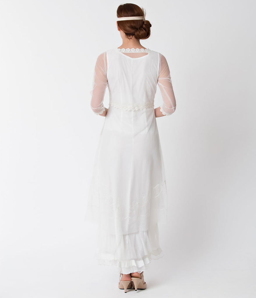 Vintage Style Ivory Three-Quarter Sleeve Mesh Edwardian Dress