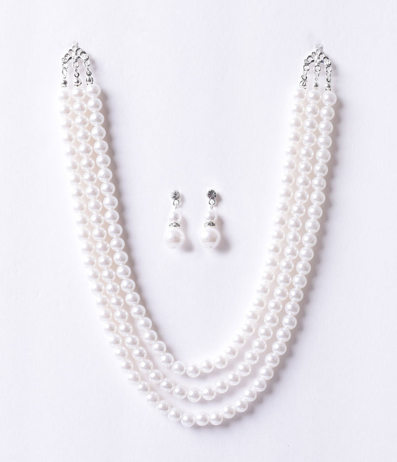 Vintage Style Ivory Triple Pearl Beaded Necklace & Earring Set