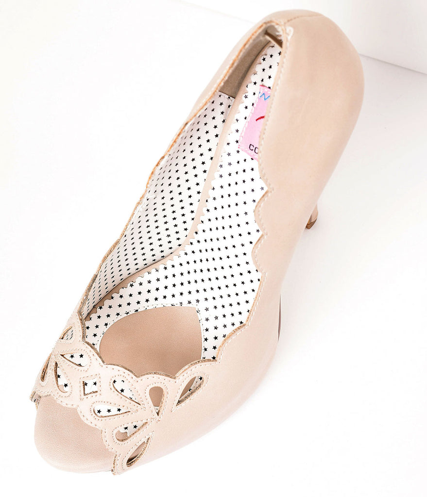 Vintage Style Light Beige Leatherette Cutout Peep Toe Platform Pump