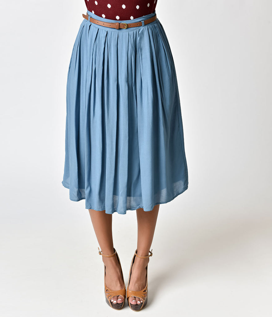 Vintage Style Light Blue Knee Length Pleated Skirt