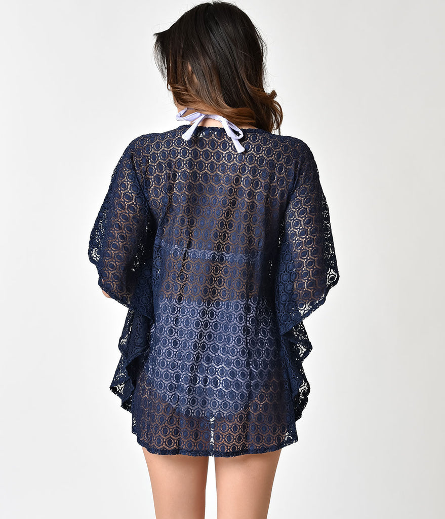 Vintage Style Navy Blue Lace Short Swim Cover