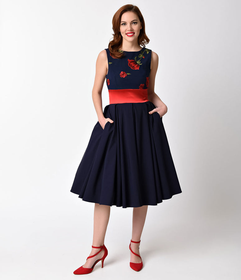 Vintage Style Navy Blue & Red Rose Sleeveless Riviera Swing Dress