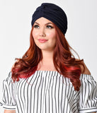 Vintage Style Navy Blue Textured Knit Knotted Turban