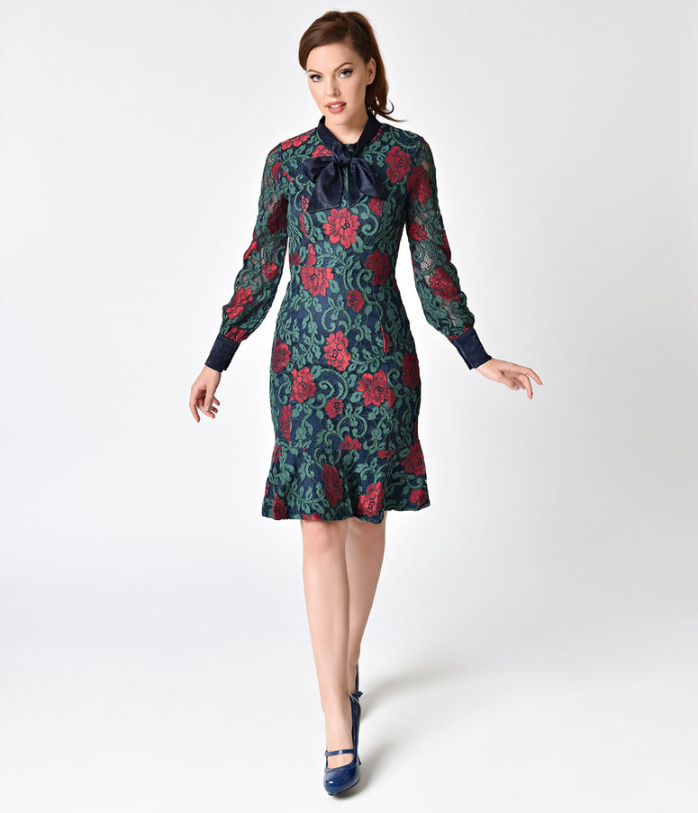 dce02a1a4077 Vintage Style Navy Blue and Red Rose Lace Wiggle Dress