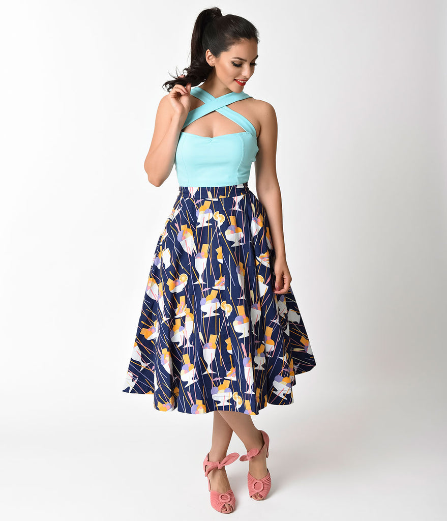 Vintage Style Navy Ice Cream Sundaes Sandy Ballerina Skirt