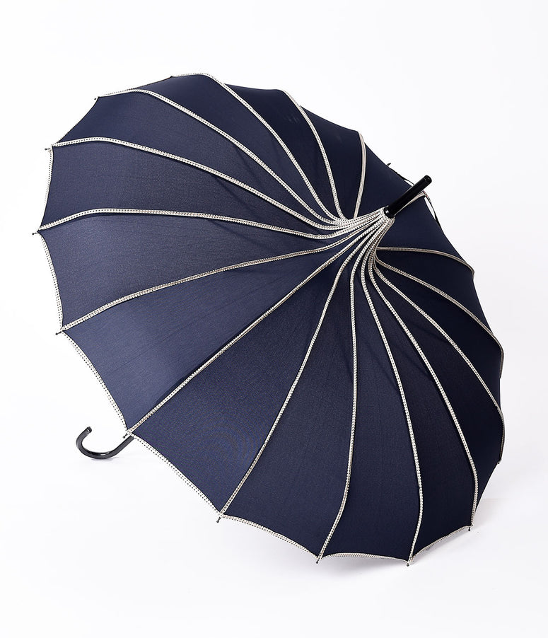 Vintage Style Navy & Polka Dot Tan Princess Pagoda Umbrella