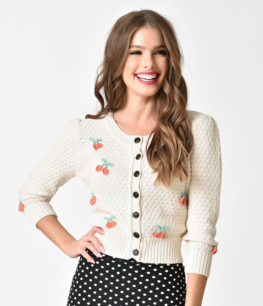Vintage Style Oatmeal & Red Cherry Three-Quarter Sleeve Knit Crop Cardigan