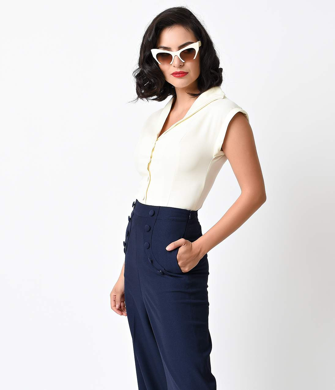 1950s Rockabilly & Pin Up Tops, Blouses, Shirts Vintage Off White Button Up Cap Sleeve Blouse $48.00 AT vintagedancer.com
