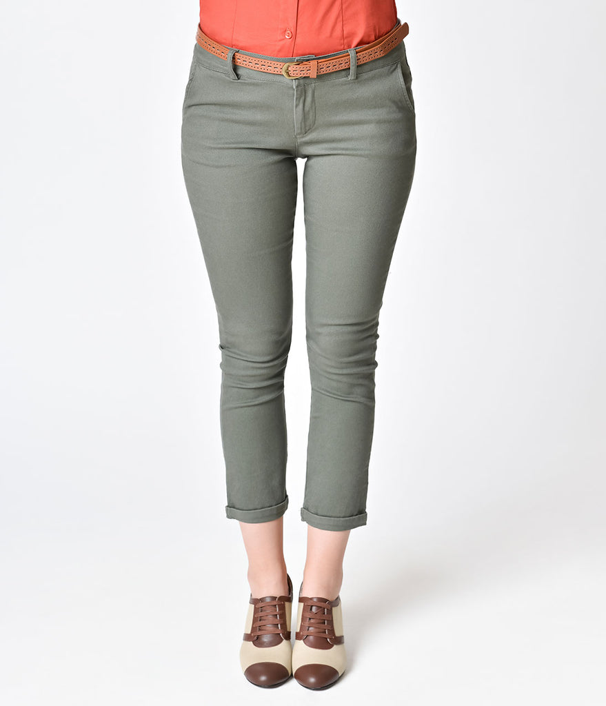 Vintage Style Olive Green Cotton Capri Pants