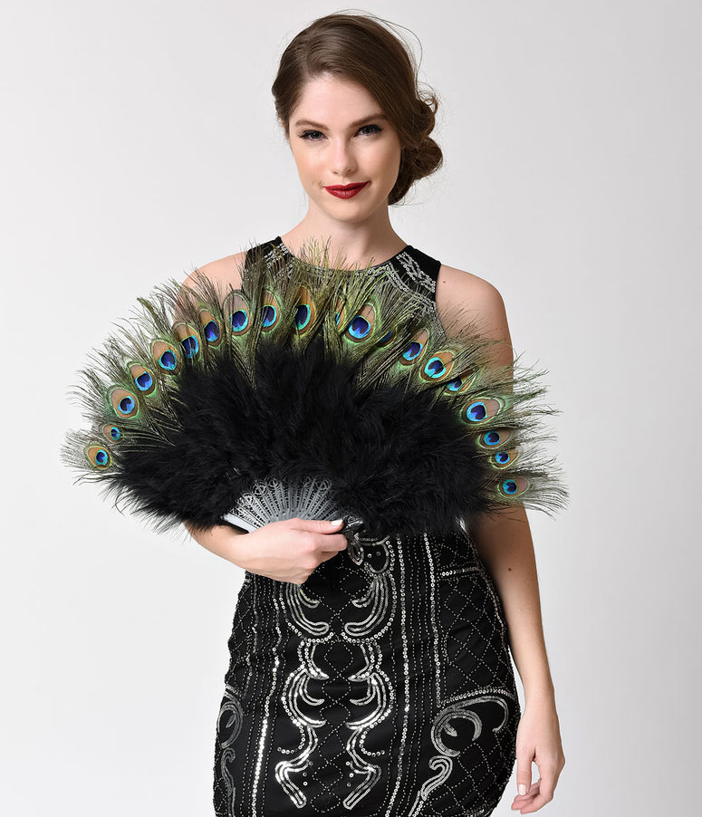Vintage Style Peacock & Black Marabou Feather Fan