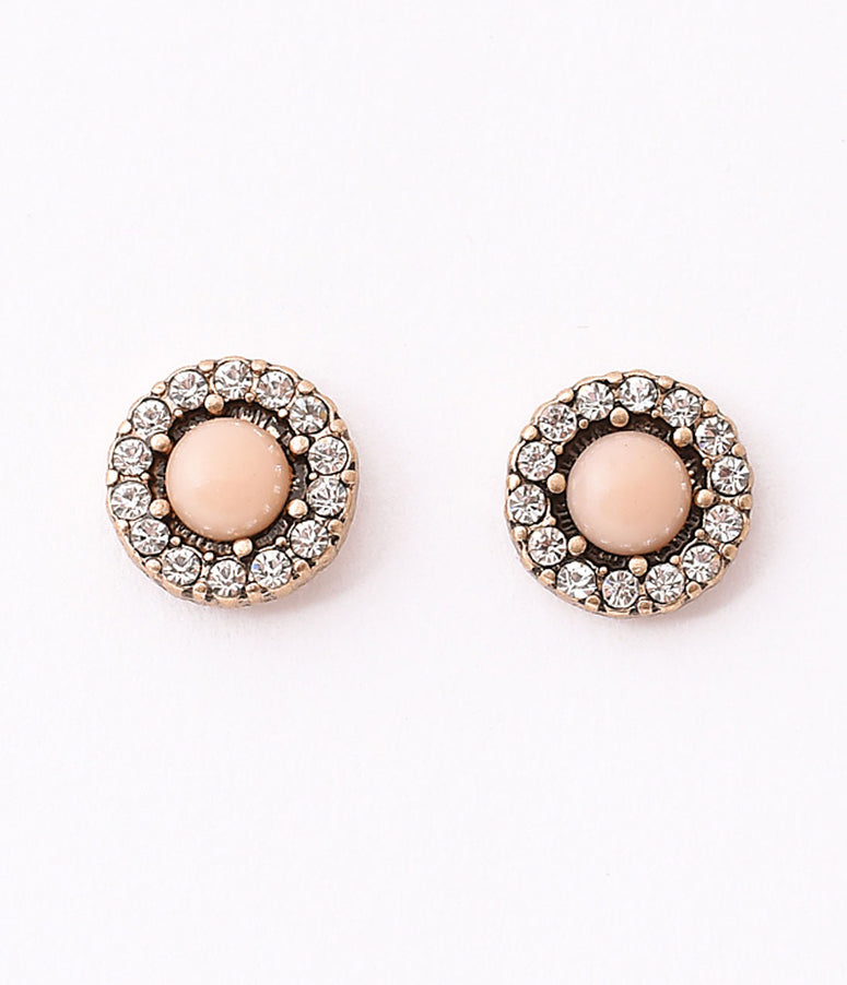 Vintage Style Pink Pearl & Silver Rhinestone Stud Earrings