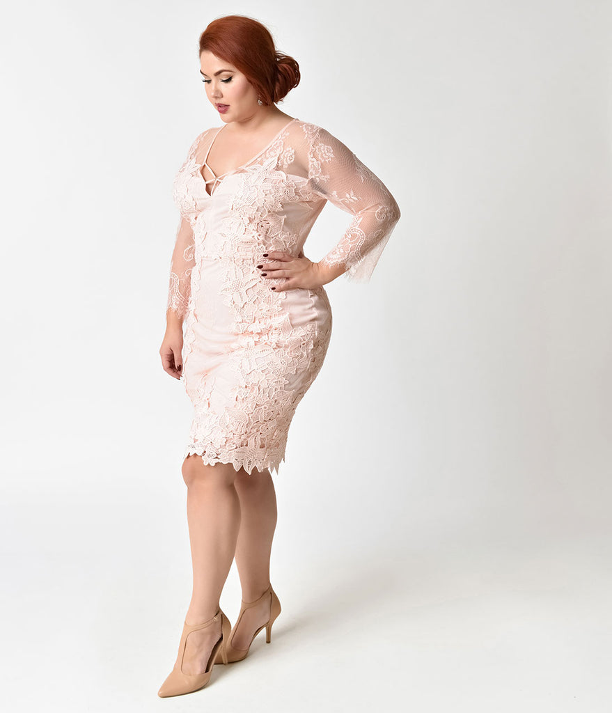 Vintage Style Plus Size Pink Rose Three-Quarter Sleeve Lace Wiggle Dress