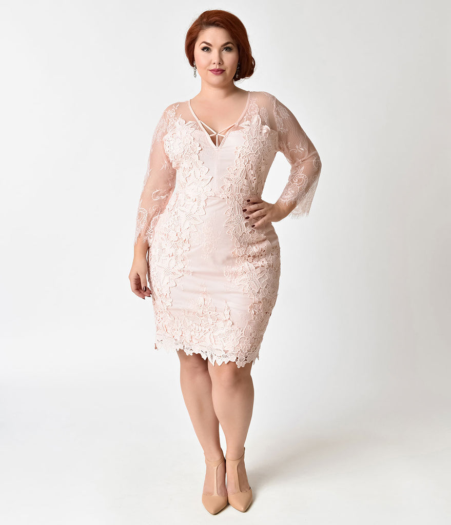 Vintage Style Plus Size Pink Rose Three Quarter Sleeve Lace Wiggle