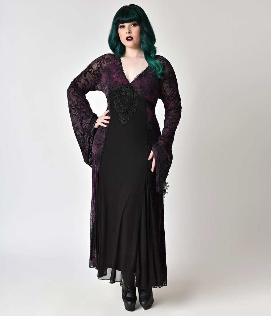 Vintage Style Plus Size Black Lace Purple Velvet Long Sleeve Gown