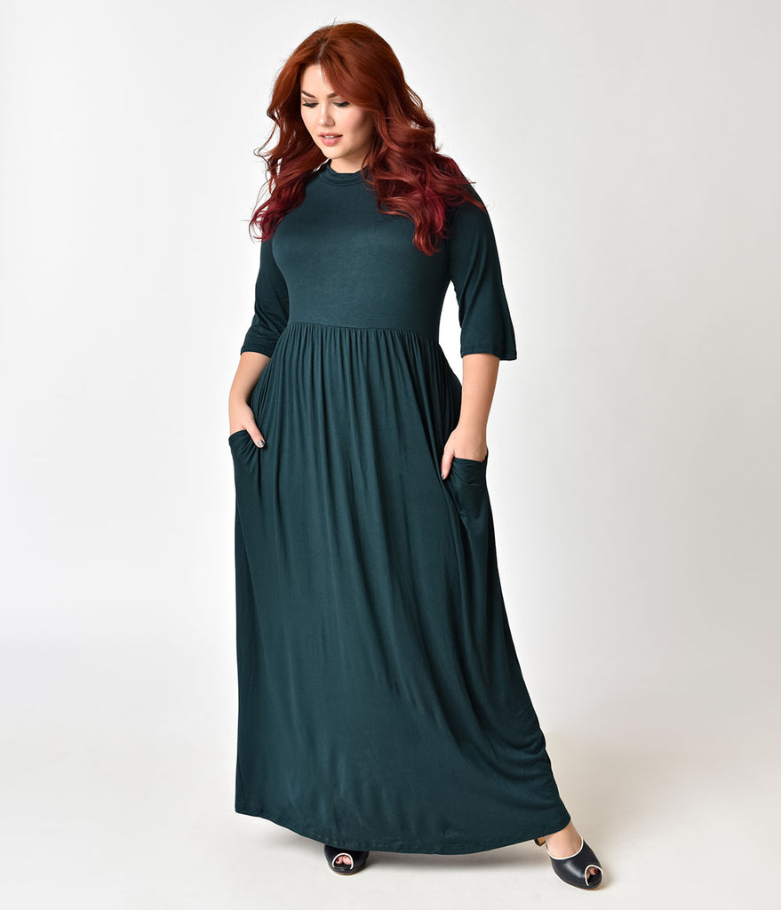 0eed7466bf8 Vintage Style Plus Size Hunter Green Sleeved Maxi Dress ...