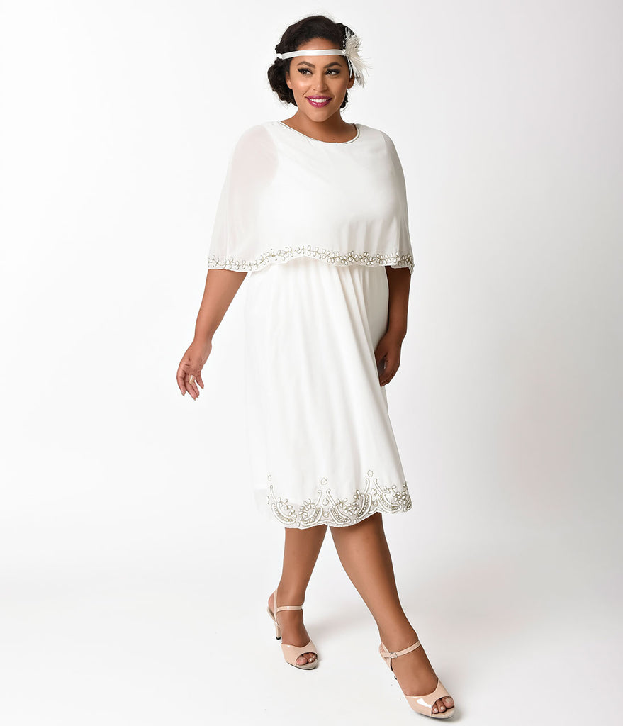 Vintage Style Plus Size Ivory Cream Mesh Cape Flapper Dress