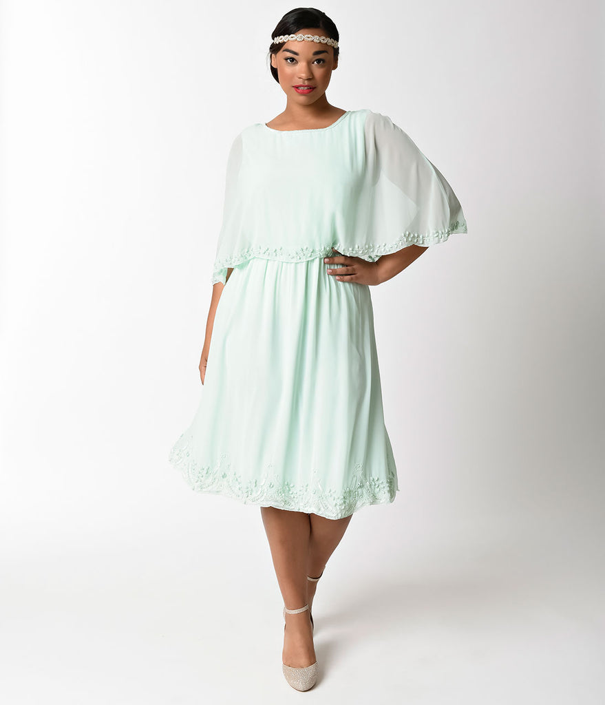 Plus Size Vintage Style Mint Mesh Cape Gloria Day Flapper Dress