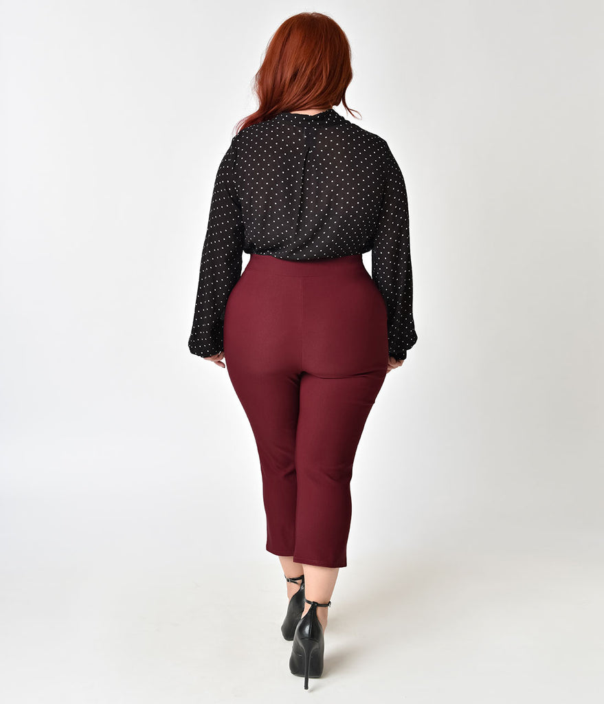 Vintage Style Plus Size Wine High Waisted Capri Pants