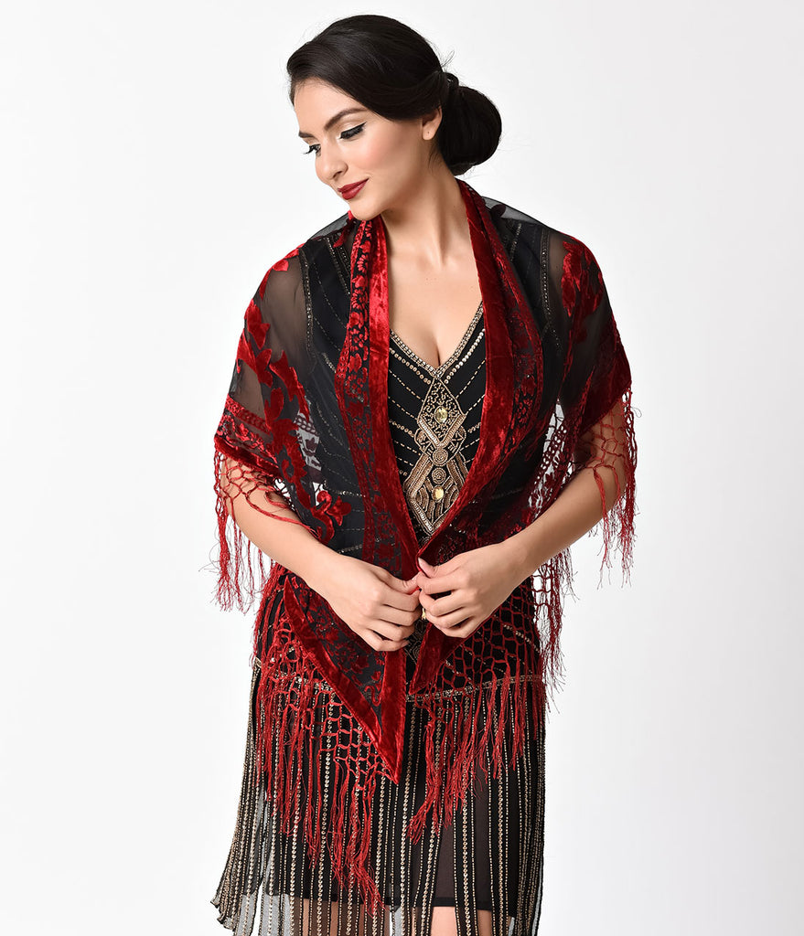 Vintage Style Red & Black Burnout Velvet Fringe Shawl