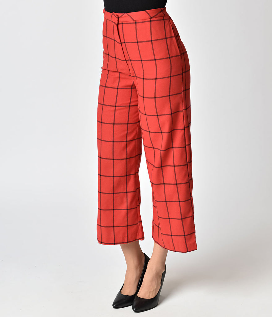 Vintage Style Red & Black Cotton Culottes