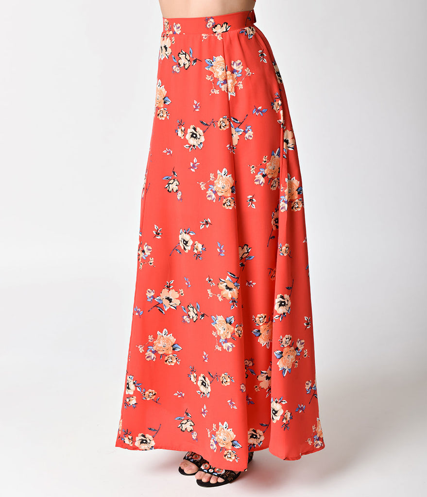 Vintage Style Red Floral High Waist Maxi Skirt