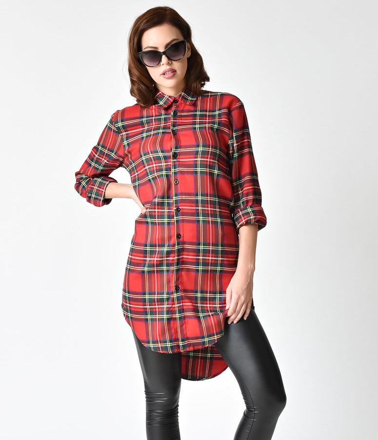 Vintage Style Red Plaid Cotton Boyfriend Shirt