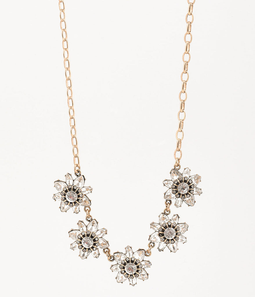 Vintage Style Silver Crystal Deco Floral Necklace