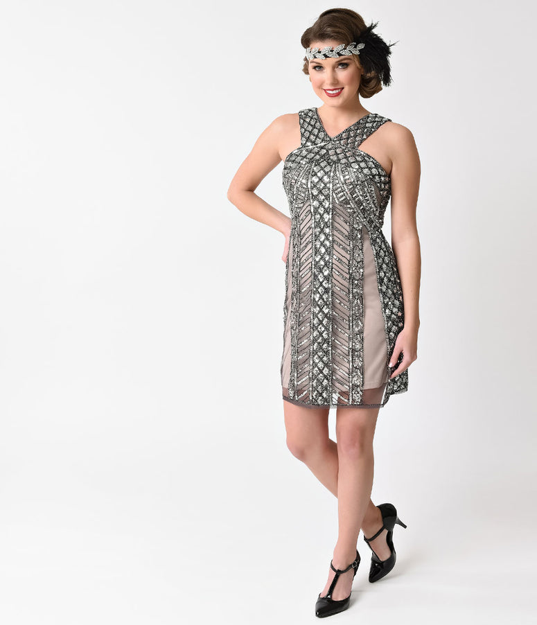 Vintage Style Silver & Nude Sleeveless Sequin Beaded Flapper Dress